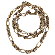 Substantial  Figaro Chain Sterling Silver Necklace