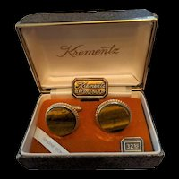 Krementz Vintage Tiger's Eye Cufflinks in Origianl Box
