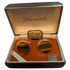Krementz Vintage Tiger's Eye Cufflinks in Origianl Box
