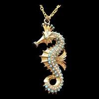 Faux Turquoise Ballotini Seahorse Pendant Necklace