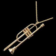 Vintage Trombone Pendant Necklace