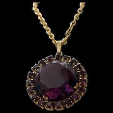 Purple Rhinestone Pendant Necklace