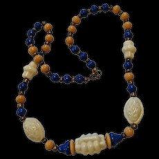 Art Deco Pressed Custard Glass Necklace