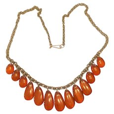 Amber Teardrop Dangles Necklace