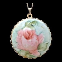 Painted Porcelain Rose Pendant Necklace
