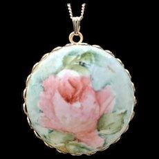 Painted Porcelain Rose Pendant Necklace