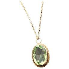 Art Deco Era Glass Peridot Necklace