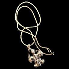 Fleur de lis Perfume Bottle Pendant Necklace