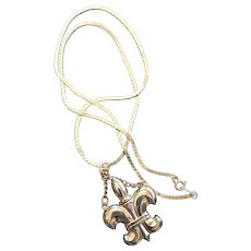 Fleur de lis Perfume Bottle Pendant Necklace