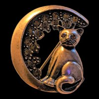 Cat in a Crescent Moon with Rhinestones