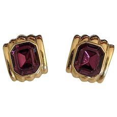 Givenchy Purple Amethyst Rhinestone Earrings