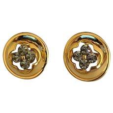 Trifari Smoky Rhinestone Earrings