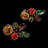 Vintage Weiss Earth-tone Rhinestone Earrings