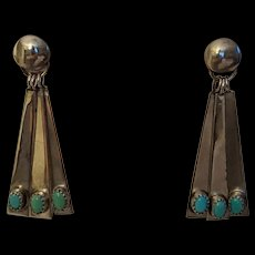 Sarah Chee Sterling Turquoise Dangle Drop Earrings