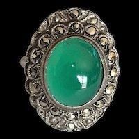 Art Deco Chalcedony Marcasite Ring