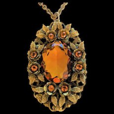 Large Topaz Glass and Brass Pendant Necklace