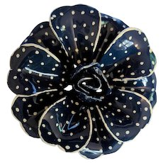 Blue and White Polka Dots Enamel Pin