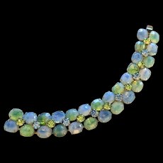 Kramer Blue and Green Rhinestone Bracelet