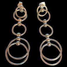 Sterling Silver Dangling Rings Earrings