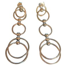 Sterling Silver Dangling Rings Earrings