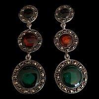 Art Deco Revival Sterling  Quartz and Marcasite Earrings