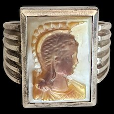 Sterling Silver Athena Minerva Carved Cameo Ring