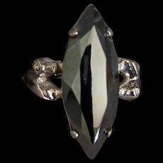 Mid Century Sterling Silver Hematite Ring