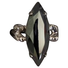 Mid Century Sterling Silver Hematite Ring