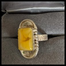 Sterling Egg Yolk Amber Ring
