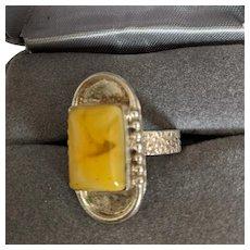 Sterling Egg Yolk Amber Ring