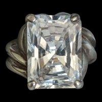 Large Sterling Silver Rhinestone Ring