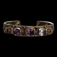 Sterling Silver Mixed Metal Amethyst Bracelet