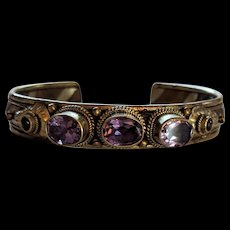 Sterling Silver Mixed Metal Amethyst Bracelet