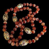 Banded Carnelian Chinese Enamel Beads Necklace