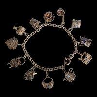 Chinese Enamel Silver Charm Bracelet