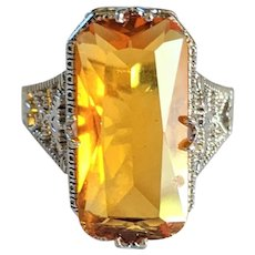 Vintage Edwardian Style Sterling Silver Rhinestone Ring