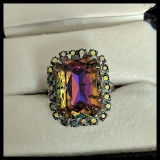 Tourmaline Rhinestone Cocktail Ring