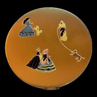 Vintage Victorian Ladies Motif  Powder Compact