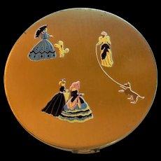 Vintage Victorian Ladies Motif  Powder Compact