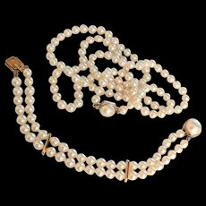 Metall Sterling and Faux Pearl Necklace and Bracelet