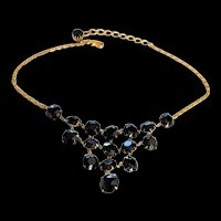 Black Crystal Rhinestone Mini Bib Necklace