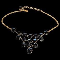 Black Crystals Bib Necklace
