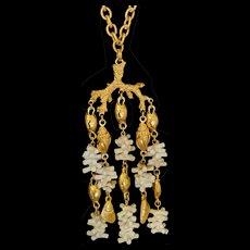 Vintage Trifari Faux White Coral Necklace