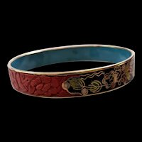Chinese Cinnabar and Enamel Bracelet