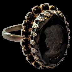 Black Glass and Rhinestone Intalio Ring