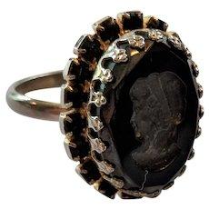 Black Glass and Rhinestone Intalio Ring
