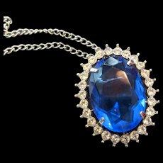 Large Sapphire Blue Rhinestone Pendant Necklace Pin
