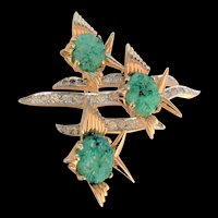 Vintage Jade Glass Angelfish Pin Jomaz