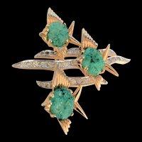 Vintage Jade Glass Angelfish Pin Jomaz