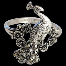 White Gold Plated Peacock Ring Marcasites